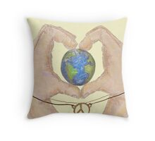 love peace and earth  Throw Pillow