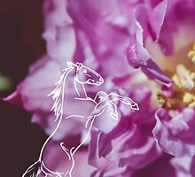Purple Flower and Rearing Horse by sgbphotos