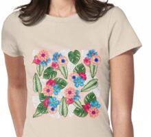 Blush Pink and Blue Watercolor Jungle Flowers Womens Fitted T-Shirt