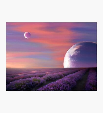 alien planets lavender fields nature surreal fantasy sunset sunrise plants Photographic Print