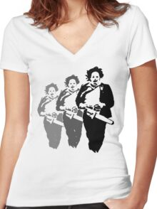 leatherfaces Women's Fitted V-Neck T-Shirt