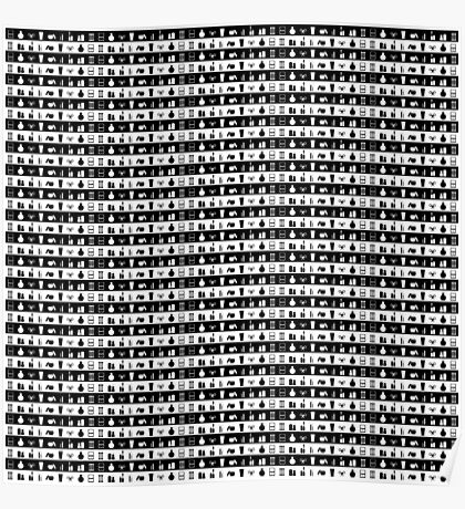 Black And White Womens Makeup Stripes Poster