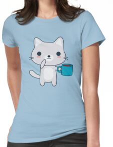 Cute Coffee Cat  Womens Fitted T-Shirt