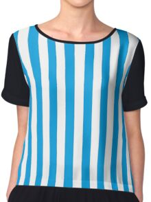 Turquoise Blue and White Stripes Chiffon Top