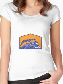Steam Locomotive Train Coming Crest Retro Women's Fitted Scoop T-Shirt