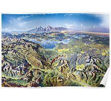 Heinrich Berann Yellowstone National Park Relief Map Poster