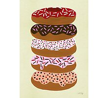 Donuts Stacked on Cream Photographic Print