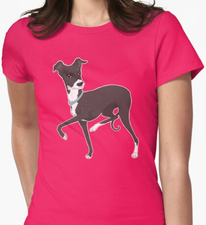 Italian Greyhound - Coral Dog Pink Background / iggy diva prance trot run sighthound whippet greyhound race racer art illustration Womens Fitted T-Shirt