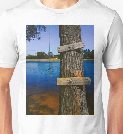 Rope swing hanging from tree above lake Unisex T-Shirt