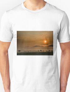 Sunrise, landscape, fog, mysterious Unisex T-Shirt