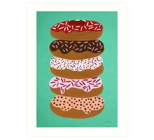 Donuts Stacked on Mint Art Print