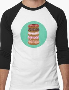 Donuts Stacked on Mint Men's Baseball ¾ T-Shirt