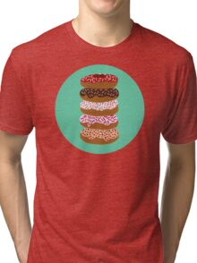 Donuts Stacked on Mint Tri-blend T-Shirt