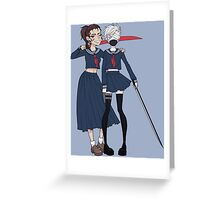 School-Girls SamuRai Greeting Card