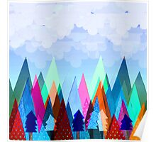 Misty Mountains (blue) Poster