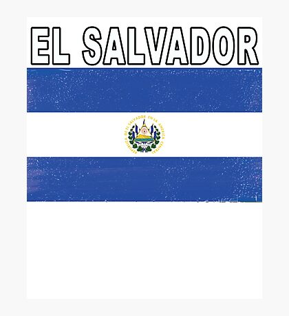 El Salvador Distressed Flag Game Team Design Photographic Print