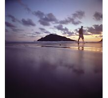 Man walking on beach dusk sunset evening sky Hasselblad medium format film analogue photograph Photographic Print