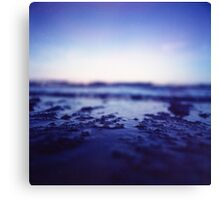 Coastal shoreline at low tide in blue Hasselblad medium format film analogue photography Canvas Print