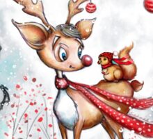 Reindeer and Squirrel - Merry Christmas Sticker