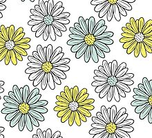 Yellow and Blue Daisies  by Carools