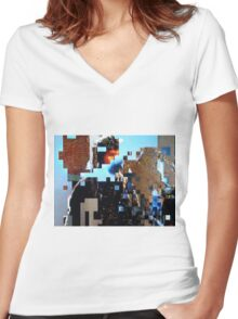 """""""Beat the Blocks"""" Women's Fitted V-Neck T-Shirt"""