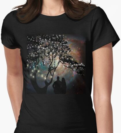 Date Night, trees, stars, string of lights, galaxy, dating couple Womens Fitted T-Shirt