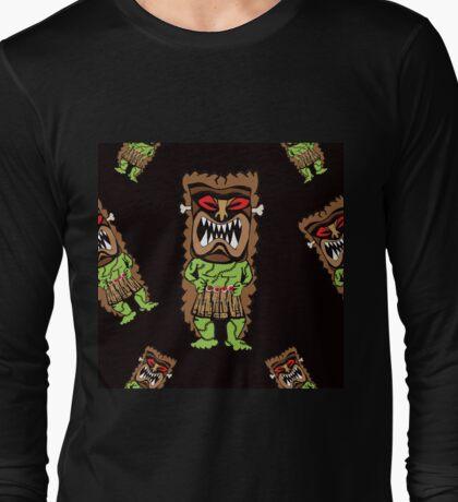 Zombie Tiki Warriors in Midnight Black Long Sleeve T-Shirt