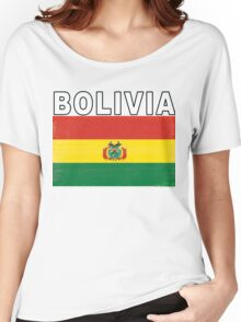Bolivia Distressed Flag Retro Soccer Design Women's Relaxed Fit T-Shirt