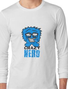 logo nerd geek schlau hornbrille zahnspange freak pickel haarig monster wuschelig verrückt lustig comic cartoon zottelig crazy cool gesicht  Long Sleeve T-Shirt
