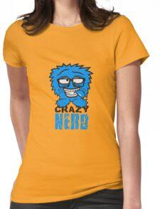 logo nerd geek schlau hornbrille zahnspange freak pickel haarig monster wuschelig verrückt lustig comic cartoon zottelig crazy cool gesicht  Womens Fitted T-Shirt