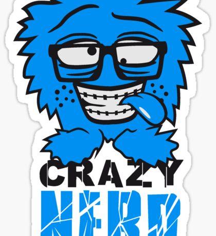 logo nerd geek schlau hornbrille zahnspange freak pickel haarig monster wuschelig verrückt lustig comic cartoon zottelig crazy cool gesicht  Sticker