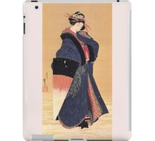 'Beauty with Umbrella in the Snow' by Katsushika Hokusai (Reproduction) iPad Case/Skin