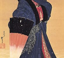 'Beauty with Umbrella in the Snow' by Katsushika Hokusai (Reproduction) by Roz Abellera Art Gallery