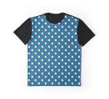 Crazy Polka Dots Ocean Blue Background Graphic T-Shirt