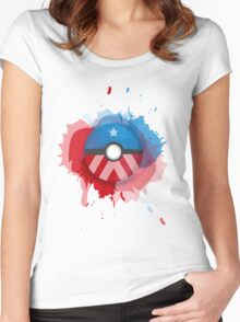 Marvel's Captain America - Pokeball - Abstract Women's Fitted Scoop T-Shirt