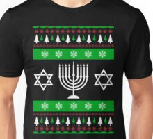 Jewish Ugly Sweater T-Shirt, Funny Hanukkah Ugly Sweater Unisex T-Shirt