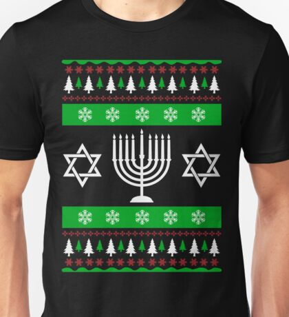 Jewish Ugly Sweater T-Shirt, Funny Hanukkah Ugly Sweater Unisex T-Shirt