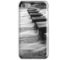 Batford Weir Stepping Stones B&W iPhone Case/Skin