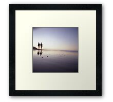 Two people walking on beach on summer evening Hasselblad medium format film analog photograph Framed Print