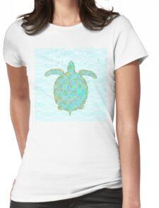 Tucker Turtle, swimming sea turtle coastal art Womens Fitted T-Shirt