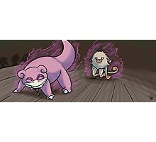 Slowpoke vs Mankey Photographic Print