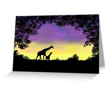 Mother and baby giraffe at sunset Greeting Card