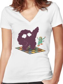 Emoc getting into the groove Women's Fitted V-Neck T-Shirt