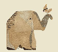 elephant and bird by bri-b