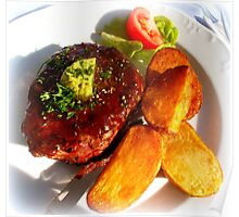 Ribeye steak with country potatoes Poster