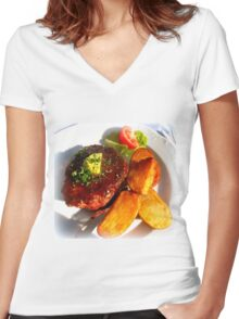Ribeye steak with country potatoes Women's Fitted V-Neck T-Shirt