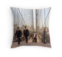 Brooklyn Bridge, New York, 1905 — Colorized Throw Pillow