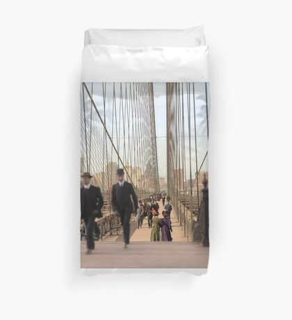 Brooklyn Bridge, New York, 1905 — Colorized Duvet Cover