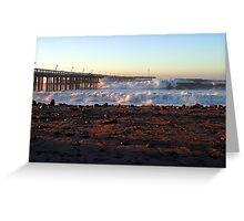 Ocean Wave Storm Pier Greeting Card