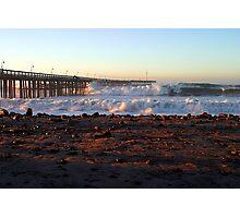 Ocean Wave Storm Pier Photographic Print